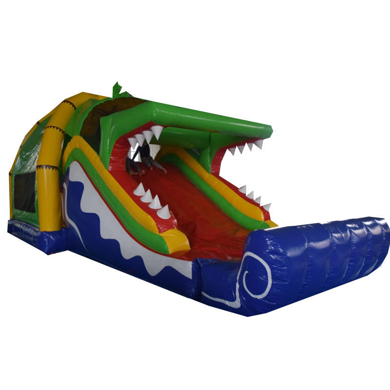 inflatable crocodile combo game with slide
