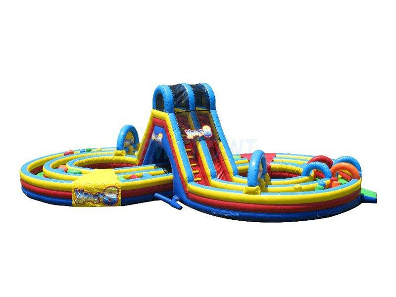 Guangzhou New Point CE Plato 0.55 mm PVC kids and adults inflatable obstacle course for sale